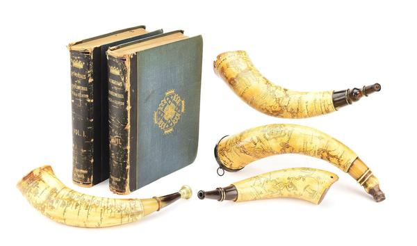 Group of four cased, engraved French and Indian War map powder horns, three belonging to Lt.  Col.  Archibald Montgomerie (1726-1796) and acquired at historic 1925 auction at Eglinton Castle, Scotland.  Two horns bear the Royal Arms; one bears the Arms of the Earls of Eglinton.  Estimate $100,000-$300,000