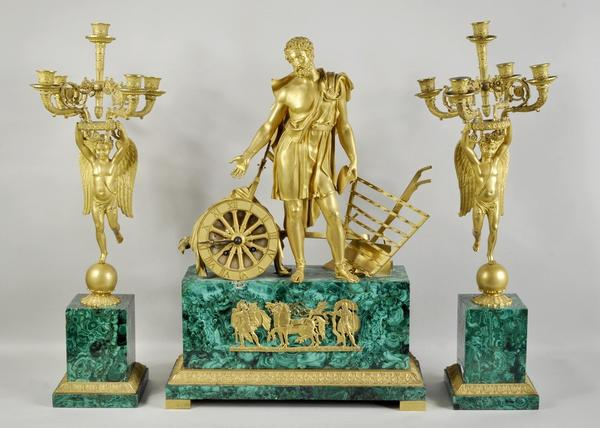 Malachite & Bronze Three PIece Clock Garniture