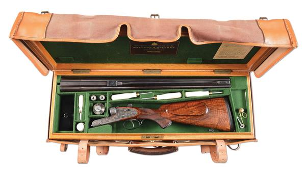 Holland & Holland (London) Royal Double Rifle built in 1932, .577-caliber Nitro Express for hunting dangerous African game.  Once owned by famed Baron Bror von Blixen-Finecke (1886-1946).  Cased with accessories.  Estimate $160,000-$200,000