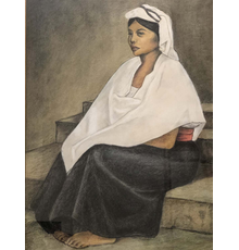 Francisco Zuniga (Mexican, 1912-1997), portrait of a seated woman in traditional Central American attire; watercolor, charcoal and pencil on paper, signed and dated '84.  Estimate $2,000-$3,000