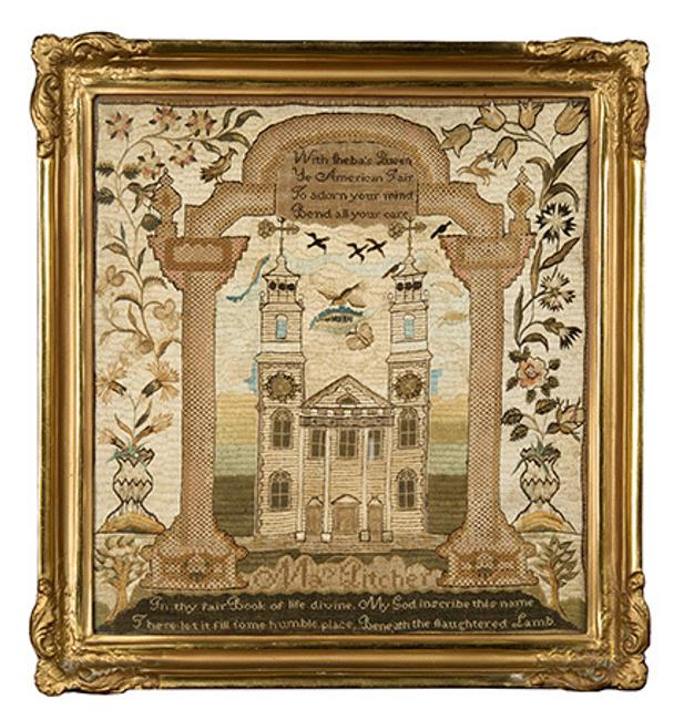 Lot 511: Rare Mary Balch School Needlework Sampler
