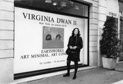 "Virginia Dwan at the exhibition ""Virginia Dwan II: Earthworks, Art Minimal, Art Conceptual, Galerie Montaigne, Paris,"" October 1991 Photo: Loic Malle Courtesy Virginia Dwan Archive"
