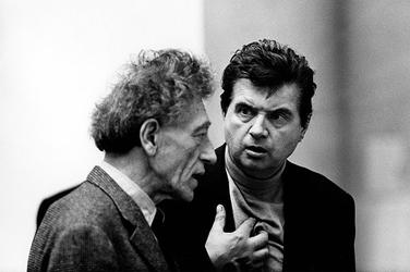 Artists Alberto Giacometti and Francis Bacon.  Photo: Graham Keen / TopFoto