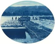 Henry Peter Bosse, Construction of Rock and Brush Dam, L.W., 1891 cyanotype