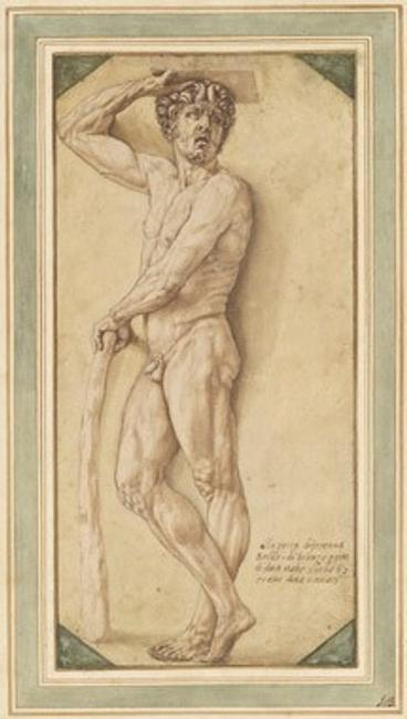 Benvenuto Cellini, A Satyr, 1544/1545 pen and brown ink with brown wash over black chalk on laid paper; laid down, with framing line in brown ink.