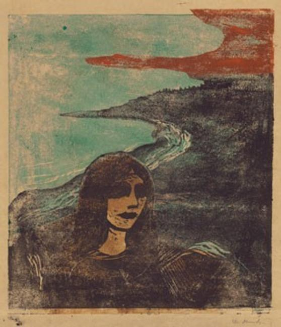 "Edvard Munch ""Girl's Head Against the Shore,"" 1899 color woodcut framed: 78.11 x 67.63 x 3.49 cm (30 3/4 x 26 5/8 x 1 3/8 in.) Epstein Family Collection"