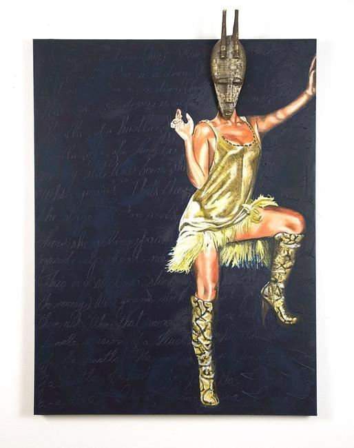 'Bamana Beyonce', 2010.  Oil and cold wax on canvas, and wood and metal african mask, 48 x 36 inches.