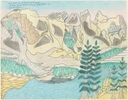 Joseph Yoakum, Briar Head Mtn of National Park Range of Bryce Canyon National Park near Hatch, Utah U.S.A., c.  1969, blue-black and black ballpoint pen and colored pencil on paper, National Gallery of Art, Washington, Gift of the Collectors Committee and the Donald and Nancy de Laski Fund