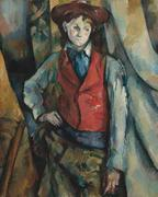 Paul Cézanne, Boy in a Red Waistcoat, 1888–1890, oil on canvas National Gallery of Art, Washington, Collection of Mr.  and Mrs.  Paul Mellon, in Honor of the 50th Anniversary of the National Gallery of Art