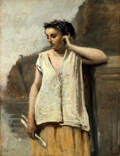 Jean-Baptiste-Camille Corot The Muse: History, c.  1865 oil on canvas overall: 46 × 35.2 cm (18 1/8 × 13 7/8 in.) framed: 73.7 × 61 × 11.5 cm (29 × 24 × 4 1/2 in.) Lent by The Metropolitan Museum of Art, H.O.  Havemeyer Collection, Bequest of Mrs.  H.  O.  Havemeyer, 1929