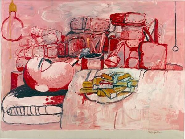 Philip Guston, Painting, Smoking, Eating, 1973 oil on canvas, overall: 196.85 x 262.89 cm (77 1/2 x 103 1/2 in.) Stedelijk Museum, Amsterdam © The Estate of Philip Guston