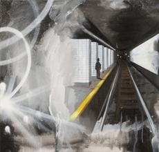 Underground Entrance, 2011, Oil, acrylic, spray paint on canvas, 24 x 24 in.