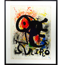 "Joan Miro (Spanish, 1893-1983), 'Sculpture et Ceramics,' 1973, artist's proof on Arches paper, pencil-signed by artist with additional notation ""H.C."" Created as signature art for Miro exhibition at Fondation Maeght in Saint-Paul-de-Vence, France, June 1973.  Size: 41½ by 31½ inches (framed), 33¾ by 23¾ inches sight.  Provenance: Galerie Maeght (Paris), private US collection since 1988.  Estimate $6,000-$12,000"