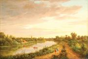 This oil on canvas river landscape after Cornelius Ver Bryck (New York, 1813-1844) was from the collection of Judith & James Miller, Alexandria, VA and sold for $46,800.