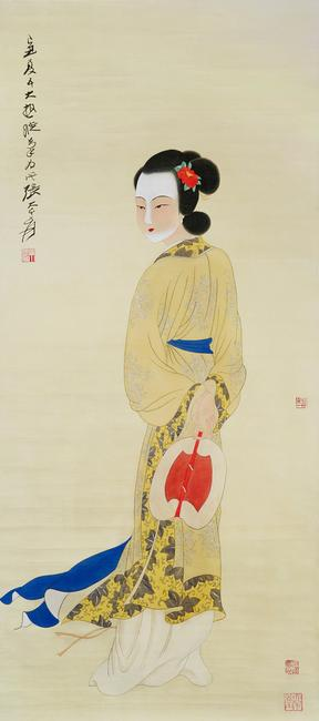 """Lady With Fan"" by Zhang Daqian.  Gianguan Auctions, June 17th."