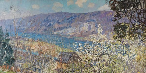 Edward Willis Redfield, Spring at Point Pleasant on the Delaware River (Lot 40) sold for $483,000.