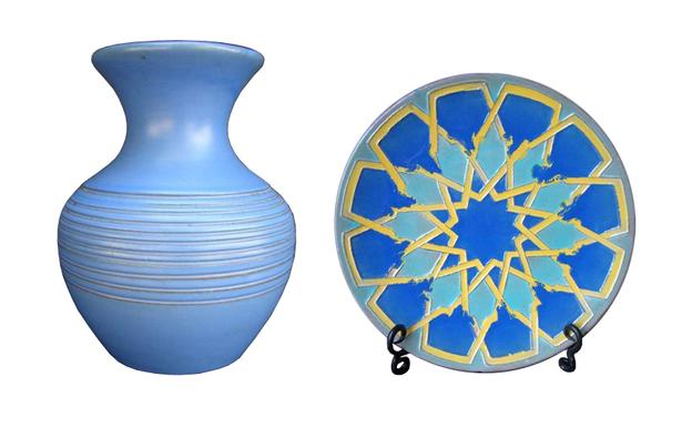 Examples of Catalina Island pottery: 8 1/2 inch ringed vase (left: est.  $880-$1,210); and 11-inch 'Moorish' plate (est.  $960-$1,320).