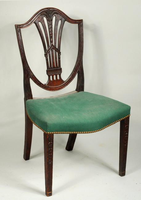 S.  Badlam Carved Federal Shield Back Side Chair