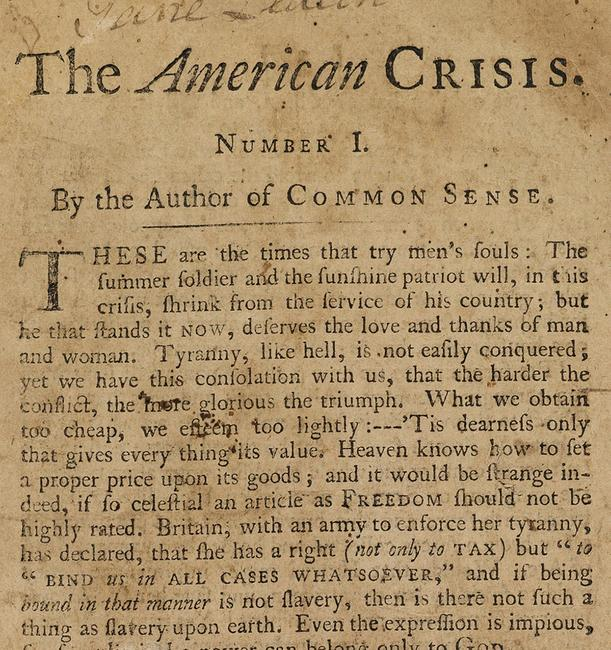 Lot 19: Thomas Paine, The American Crisis, Parts I & II, first separate edition, first state, Philadelphia, 1776-77.  Sold April 12, 2018 for $50,000.
