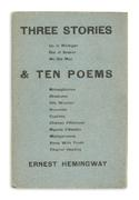 Lot 193: Ernest Hemingway, Three Stories & Ten Poems, limited first edition, Paris, 1923.  Sold May 15, 2018, for $23,750.  (Pre-sale estimate: $20,000 to $30,000)