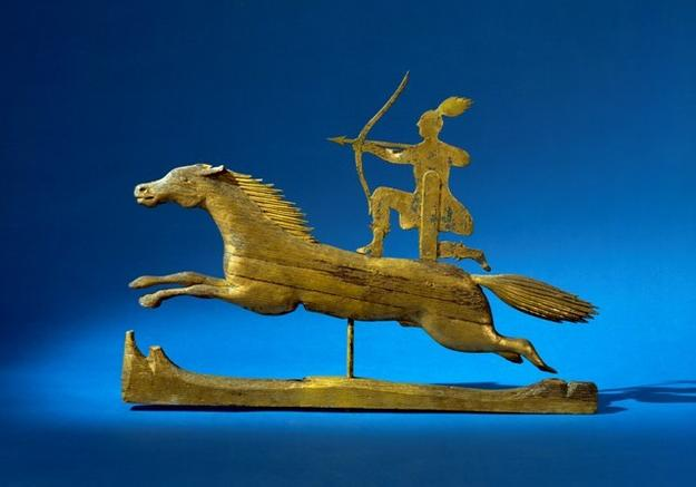 From Voices of the Past: Objects from the Colonial Williamsburg Art Museums: Weathervane, Probably Wells, Maine, 1850-1880, iron, pine, paint, and gilt, gift of Abby Aldrich Rockefeller, 1933.700.1