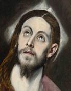 El Greco (Doménikos Theotokópoulos) and workshop, Head of Christ, ca.  1579–1586.  Oil on canvas.  Collection of the McNay Art Museum, Bequest of Marion Koogler McNay.