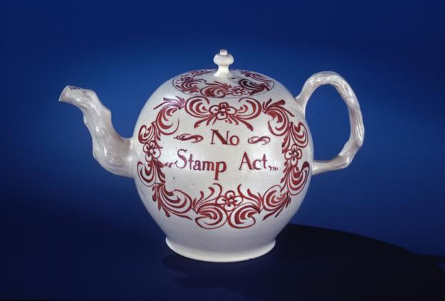 """No Stamp Act"" Teapot Staffordshire, England, 1766-1770 Lead-glazed Earthenware Colonial Williamsburg Museum Purchase, 1953-417"