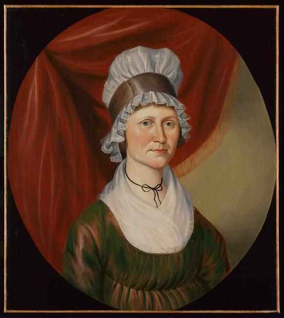 Portrait of Mrs.  Amos Morrow (Matilda) Attributed to Charles Peale Polk (1767-1822) Jefferson County, Virginia (now West Virginia), ca.  1800 Oil on canvas Gift of M.  Knoedler and Company, Inc., 1957.100.12