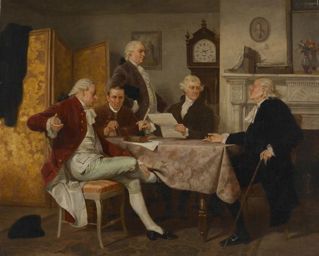 Alonzo Chappel Drafting the Declaration of Independence.  n.d.  Oil on canvas.  20 x 24 in.  August Heckscher Collection 1959.184