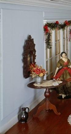 Dollhouse, probably Long Island, New York, ca.  1910, the partlor room decorated for the holidays, 969.1200.1 interior detail.