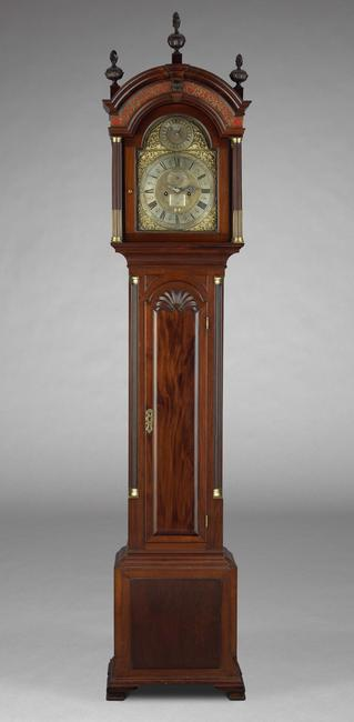 Tall Case Clock Movement : William Claggett, Newport Rhode Island, ca.  1740, Case: Unidentified Maker, Newport, Rhode Island, ca.  1765, mahogany, chestnut, white pine; brass, iron, steel and lead, Museum Purchase, 1972-36