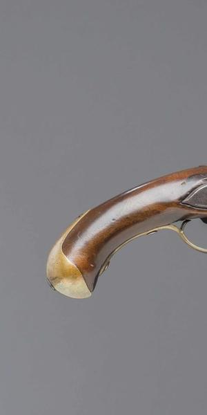 French M-1766 Cavalry Pistol, Royal Manufactory at Maubeuge, Maubeuge, 1774, walnut, iron, steel and brass, Museum Purchase, 1978-237