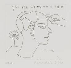 "Charles Garabedian, ""You Are Going on a Trip"", 1980.  Etching.  SBMA, Gift of Stephen Acronico."