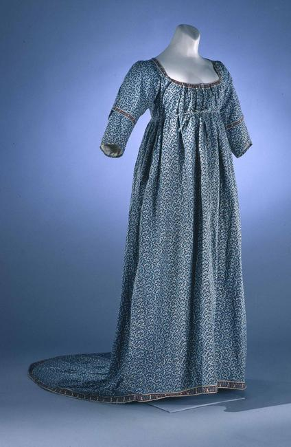 Woman's Gown England, ca.  1805 Cotton, block-printed to shape Museum Purchase, 1991-449, A