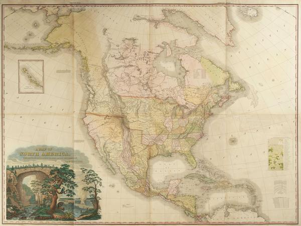 A MAP OF NORTH AMERICA.  Henry Schenck Tanner, cartographer, engraver and publisher, Philadelphia, Pennsylvania, 1822.  Line engraving on laid paper with hand-coloring.  Museum purchase, 1997-5