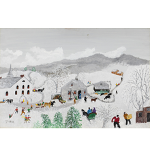 Grandma Moses (nee Anna Mary Robertson, American, 1860-1961), 'Deep Snow,' 1957, oil on Masonite, 22¾ x 30 5/8in (framed), artist-signed at lower left.  Titled and dated on original artist's label on verso.  Direct line of provenance back to the artist.  Copyright Grandma Moses Properties Co., New York.  Estimate $60,000-$80,000