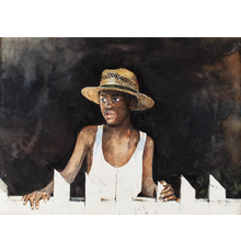 Stephen Scott Young (FL/SC/Bahamas, b.  1957-), Tenth Son, watercolor, 21 x 29¼in (sight), signed and dated '99 at lower right, inscribed 'First Study Shelley's Brother.  Estimate: $30,000-$50,000