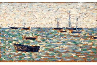 La Mer à Grandcamp (The Sea at Grandcamp) by Georges Seurat.  Circa 1885.  Highly important, this painting is among the key works in the founding of the Neo-Impressionist movement.