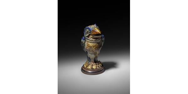 A Martin Brothers stoneware bird jar and cover by Robert Wallace Martin, from the Daryl Fromm collection – £28,000 in the November 27 auction at Woolley & Wallis in Salisbury.
