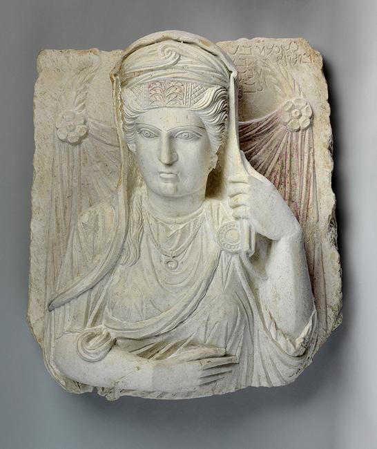 Palmyrene Relief, Mortuary Portrait of Yedi'at.  Limestone, 1st-2nd centuries CE (Roman) Palmyra, Syria