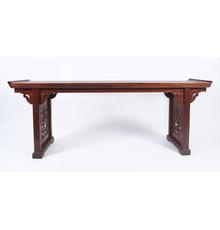 Large Chinese Huanghuali Recessed Leg Table, 17th / 18th Century