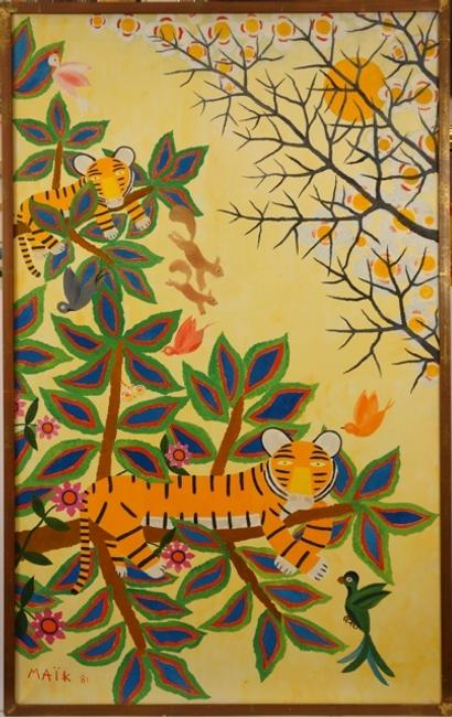 "Artist: Henri Maik (French 1922 – 1993) Title: Landscape with Tigers Medium: Oil on Canvas Size: 52"" x 32"" inches Date: Signed and Dated Lower Left – ""Maik '81"" EST: $6,000-8,000"