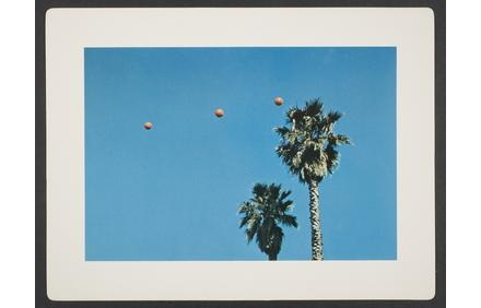 John Baldessari, Throwing Three Balls in the Air to Get a Straight Line (Best of Thirty-Six Attempts), sheet from artist book consisting of folio cover and fourteen leaves, 1973.  9 5/8 in.  x 12 3/4 in.  (24.4 cm x 32.4 cm).  Museum purchase, The Nancy Gray Sherrill, Class of 1954, Acquisition Fund.  2007.161.  © John Baldessari