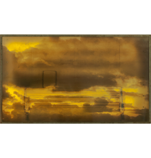 "Umbra II, 2017, 68.5x27.75x5.5"" Paint on Resin, Layered Photo on Velum in Light Box"