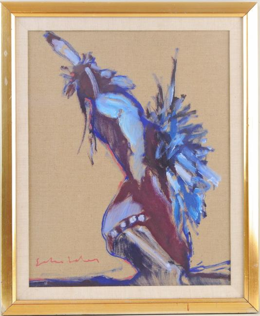 Framed Fritz Scholder Oil Linen Of A Native Dancer