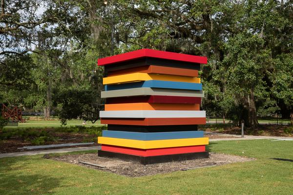 Sean Scully, Colored Stacked Frames, 2017.  Stainless steel, paint.
