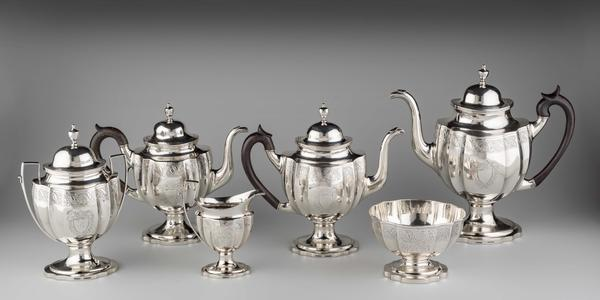 Tea and Coffee Set Littleton Holland Baltimore, Maryland ca.  1800 Silver, wood Bequest of Mr.  and Mrs.  Joseph H.  Hennage, 2020-249, 1-6