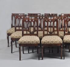 """""""Lincoln White House Chairs."""" Set Twelve American Late Classical Dining Chairs."""