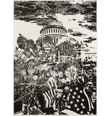 William Evertson, American, Capitol Offense 1814/2021, 2021, Woodblock, 44 x 32 inches