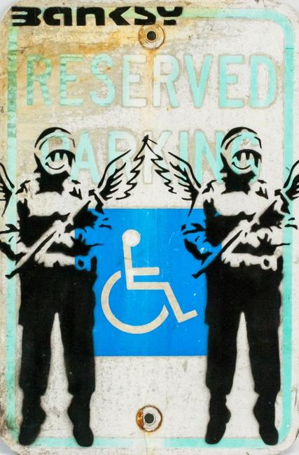 "Spray painted sign.  Featuring two winged figures against a RESERVED PARKING sign.  Signed ""BANKSY"" in the top left corner.  Attributed to Banksy (1974- , British).  34.5 x 20 cm (13.5 x 10 inches).  Provenance: this lot carries limited provenance from an Upper New York estate.  ($2,000-4,000)"